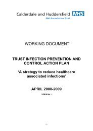 TRUST INFECTION PREVENTION AND CONTROL ACTION PLAN