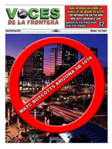 Junio 2010/June 2010 Bilingual – Free / Gratis - Voces De La Frontera