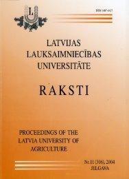 Latvijas Lauksaimniecības universitātes raksti nr. 11 (306), 2004 ...