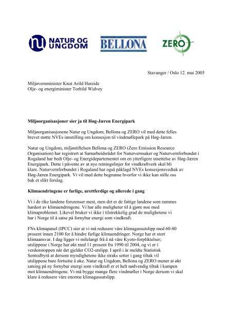Miljøorganisasjoner sier ja til Høg-Jæren Energipark - Zero