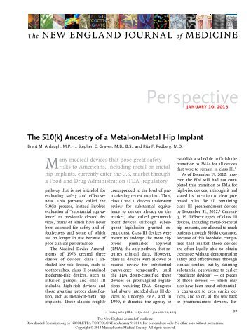 The 510(k) Ancestry of a Metal-on-Metal Hip Implant