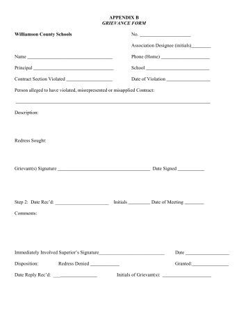 employee grievance form