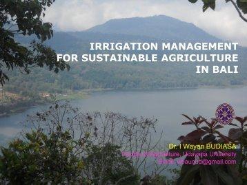 Irrigation Management in Subak System