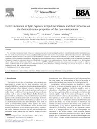 Defect formation of lytic peptides in lipid membranes and their ...
