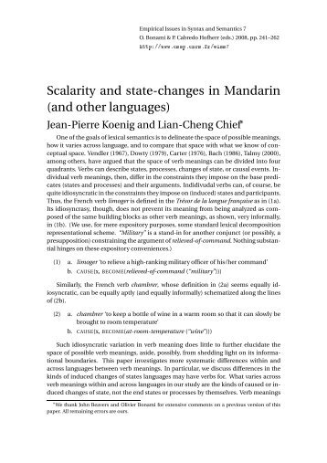Scalarity and state-changes  in Mandarin (and other ... - CSSP - CNRS