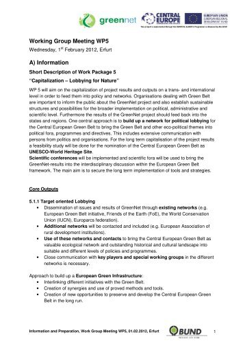 Short Description of Work Package 5 - GreenNet Project