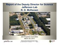 Report of the Deputy Director for Science Jefferson Lab R. D. ...