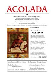 SONET din VITA NUOVA - Acolada - revista lunara de literatura si arta