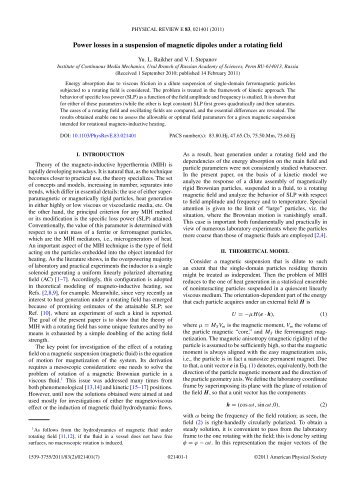 Power losses in a suspension of magnetic dipoles under a rotating ...