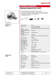 Hengstler AC58 SSI-P Absolute Encoder Data Sheet - Automated ...