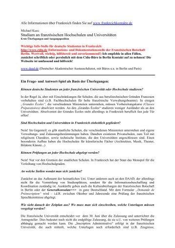 Erfahrungsberichte, Tipps und Adressen. (PDF) - Frankreich