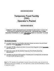 Temporary Food Facility (TFF) Operator's Packet - Environmental ...
