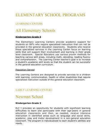 Elementary Programs - Needham Public Schools