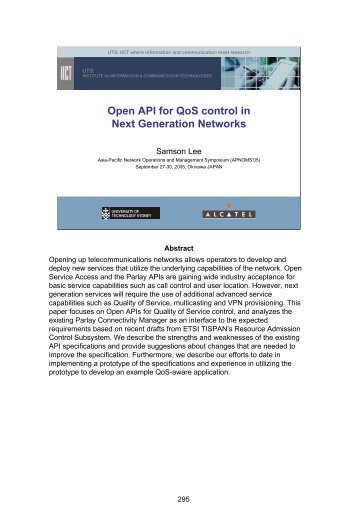 Open API for QoS control in Next Generation Networks - APNOMS