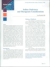 Iodine: Deficiency and Therapeutic Considerations