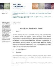 REGISTRATION SYSTEMS: BACK TO BASICS - Miller Thomson
