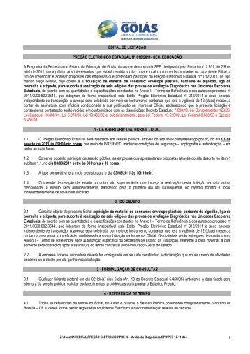 Pregão Eletrônico Estadual nº012/2011 - Secretaria da Educação