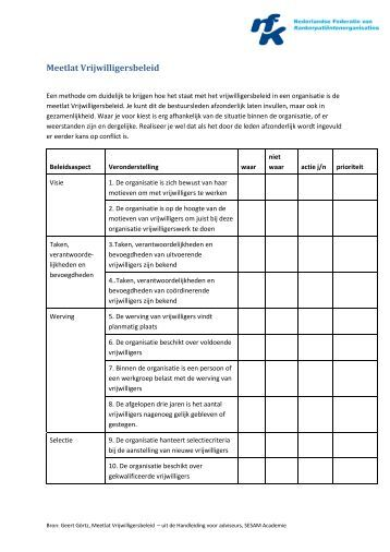 Declaratieformulier - Vrijwilligersbeleid