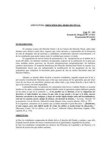 ASIGNATURA: PRINCIPIOS DEL DERECHO PENAL - Universidad