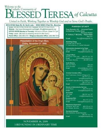 16November2008 - Blessed Teresa of Calcutta Parish