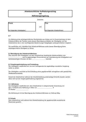 Aufhebungsvertrag W Aufhebungsvertrag Muster Kostenlose Samlung