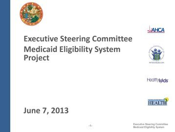 Executive Steering Committee Medicaid Eligibility System Project ...