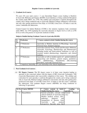 Regular Courses available in Ayurveda - Department of AYUSH