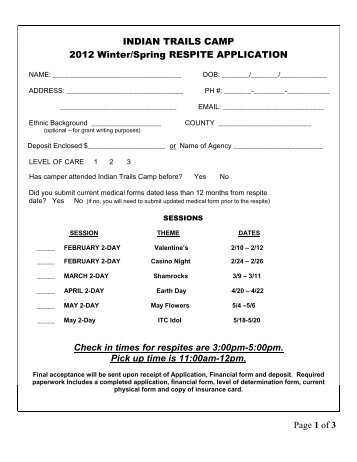 2012 Winter/Spring Respite Application - Indian Trails Camp