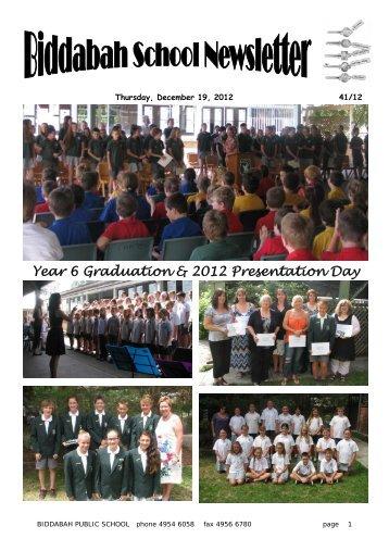Year 6 Graduation & 2012 Presentation Day - Biddabah Public School