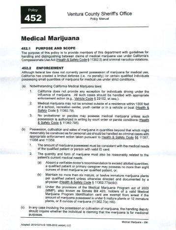 Ventura Sheriff's Office Medical Marijuana Policy ... - Omar Figueroa