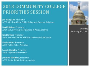 ACCT and AACC Legislative Priorities, General Session
