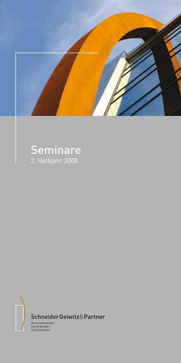 Seminare 2. Halbjahr - Schneider Geiwitz & Partner