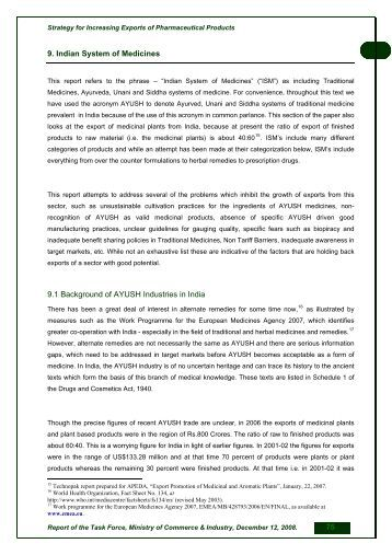 9. Indian System of Medicines 9.1 Background of AYUSH Industries ...