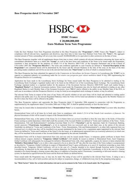 Hsbc France A 20 000 000 000 Euro Medium Term Note Programme