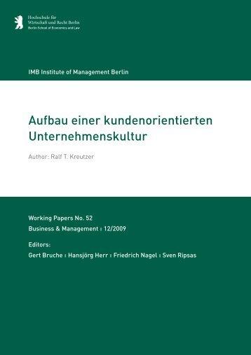 Aufbau einer kundenorientierten ... - MBA Programme der HWR Berlin