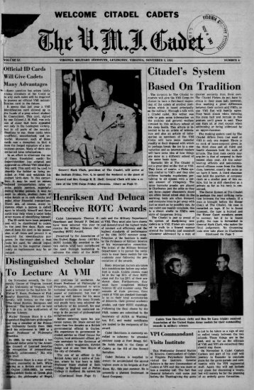 The Cadet. VMI Newspaper. November 03, 1961 - New Page 1 ...