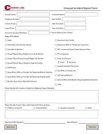 Unusual Incident Report Form