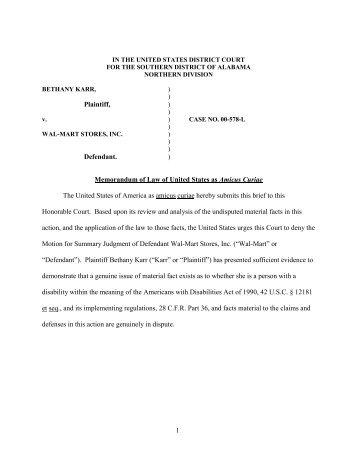Karr v. Wal-Mart Stores, Inc. - ADA.gov