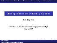 Global optimization and Evolutionary algorithms