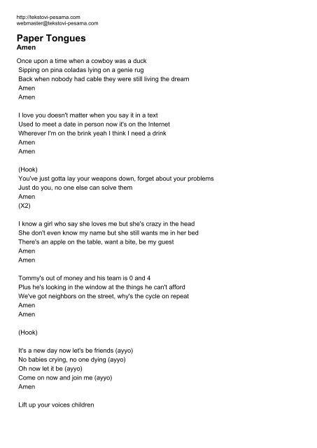 Paper Tongues - Tekstovi pesama