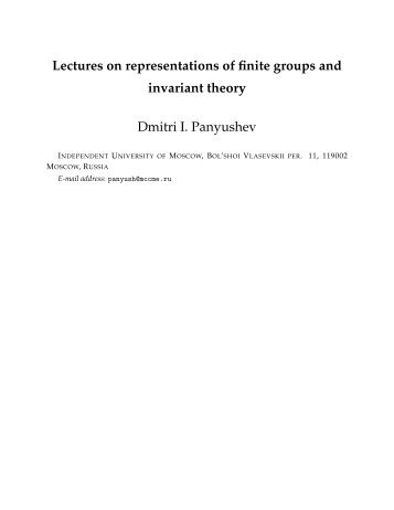 Lectures on representations of finite groups and invariant theory ...