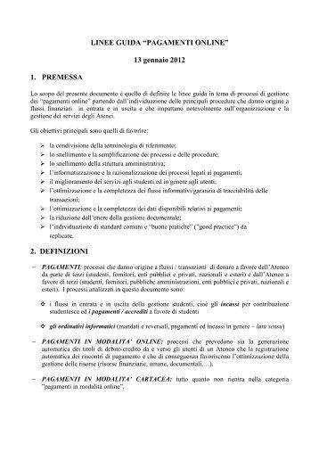 "Linee Guida ""Pagamenti online"" - ICT4University"