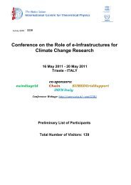 Conference on the Role of e-Infrastructures for Climate Change - ICTP