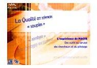 L'expérience de PACTE - Réseau Qualité en Recherche - CNRS