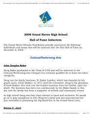 2008 Grand Haven High School Hall of Fame Inductees ... - MLive.com