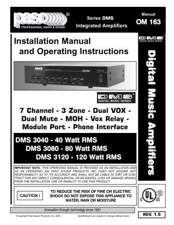 OM163 DMS3040-80-120 MANUAL.qxd - Paso Sound Products