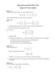Matematik og modeller Blok 4 2012 Opgaver til Lineær algebra