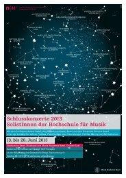 Schlusskonzerte 2013 SolistInnen der Hochschule für Musik