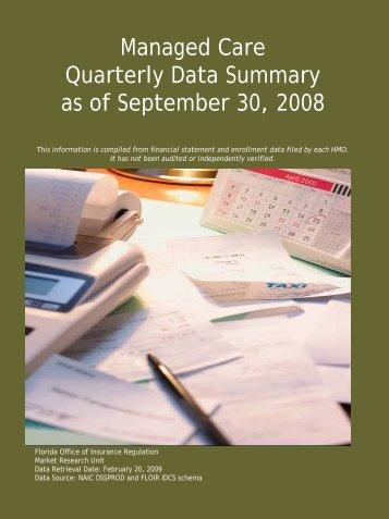 Managed Care Quarterly Data Summary as of September 30, 2008