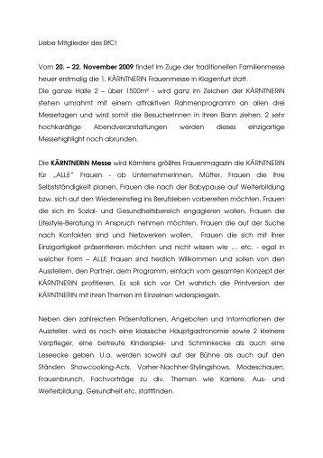 Info KÄRNTNERiN Messe BfC - Business frauen Center Kärnten